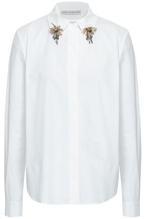 MARY KATRANTZOU Embellished stretch-cotton poplin shirt