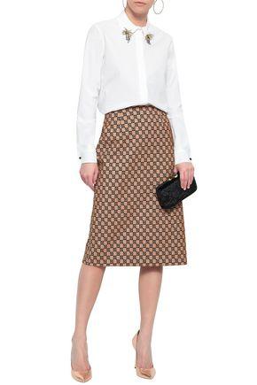 MARY KATRANTZOU Embellished stretch-cotton poplin shirt