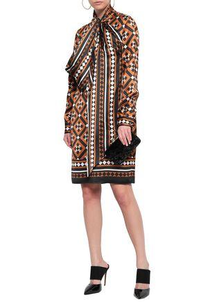Mary Katrantzou Dresses MARY KATRANTZOU WOMAN LYONEL PUSSY-BOW PRINTED SATIN DRESS LIGHT BROWN