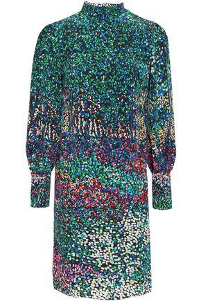 MARY KATRANTZOU Printed silk turtleneck mini dress