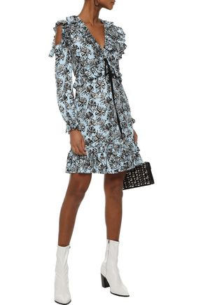 ROBERT RODRIGUEZ Cold-shoulder ruffled floral-print silk-twill mini dress