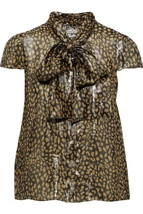 ALICE + OLIVIA Jeannie pussy-bow printed silk-blend lamé blouse