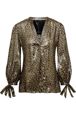 ALICE + OLIVIA Shelia metallic leopard-print silk-blend blouse
