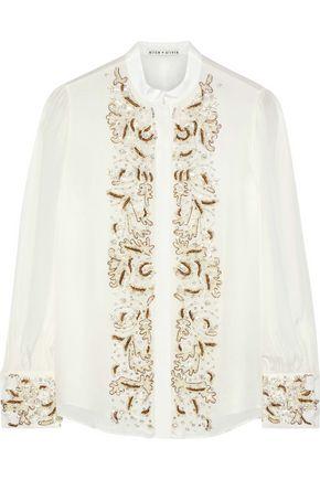 ALICE + OLIVIA Zita embellished crepe de chine blouse