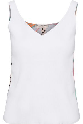EMILIO PUCCI Ribbed-knit and printed silk crepe de chine tank