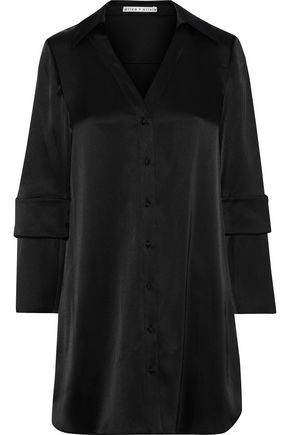 ALICE + OLIVIA Halima button-detailed satin mini shirt dress