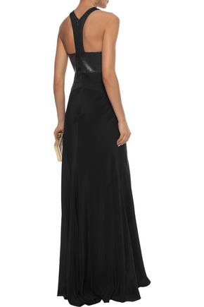 ROBERTO CAVALLI Elaphe and satin-paneled silk crepe de chine gown