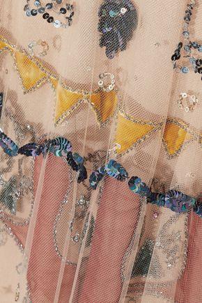 VALENTINO Chiffon-paneled embellished tulle gown