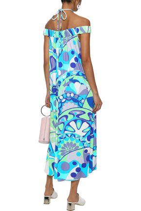 EMILIO PUCCI Off-the-shoulder ring-embellished printed stretch-jersey midi dress