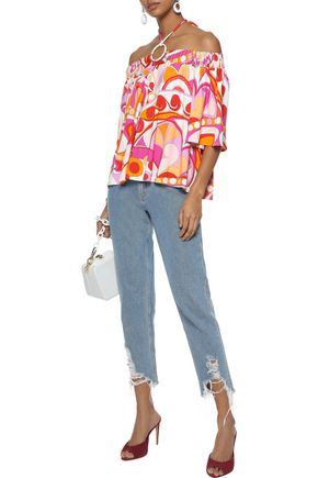 EMILIO PUCCI Off-the-shoulder printed stretch-jersey top