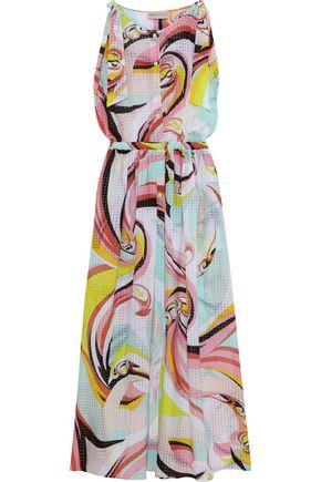 EMILIO PUCCI Bow-detailed printed burnout crepe de chine maxi dress