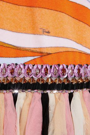 EMILIO PUCCI Chiffon-trimmed embellished printed cotton-fleece dress