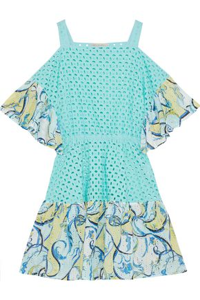 EMILIO PUCCI Cold-shoulder ruffle-trimmed broderie anglaise cotton mini dress