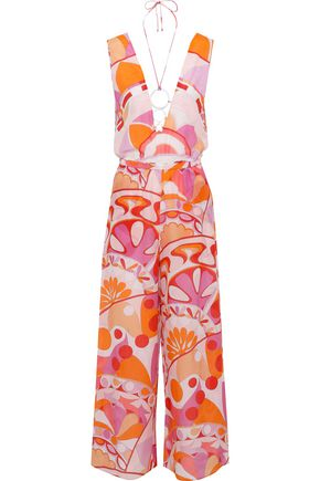 EMILIO PUCCI Ring-embellished printed cotton and silk-blend jumpsuit