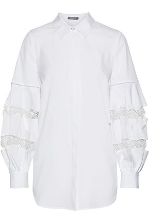 LELA ROSE Crochet-trimmed stretch-cotton poplin shirt