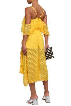 ALICE McCALL Cold-shoulder ruffled fil coupé silk-blend midi dress