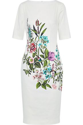 LELA ROSE Claire floral-print stretch-cotton dress