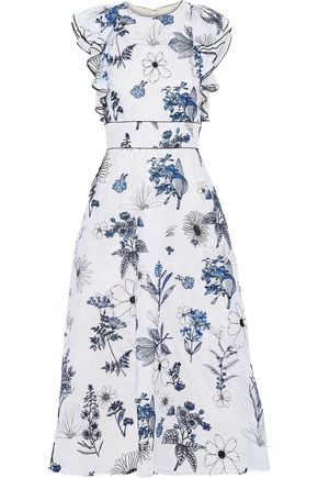 LELA ROSE Ruffle-trimmed embroidered silk-organza midi dress