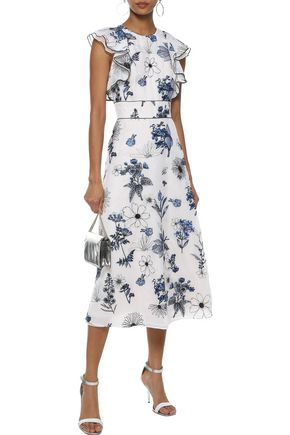 LELA ROSE Ruffle-trimmed embroidered silk-organza midi dress