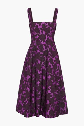 LELA ROSE Flared brocade midi dress