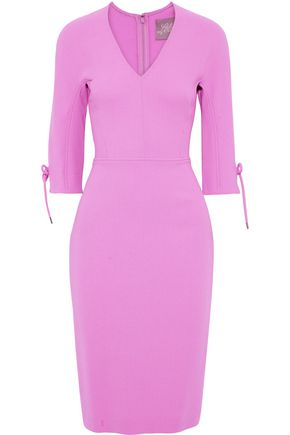 LELA ROSE Tie-detailed wool-blend crepe dress