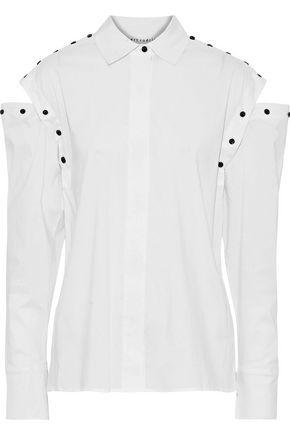 ROBERT RODRIGUEZ Convertible button-detailed stretch-cotton poplin shirt