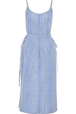 LELA ROSE Button-detailed gingham coated-poplin midi dress