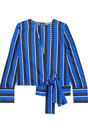 ROBERT RODRIGUEZ Wrap-effect striped satin-jacquard blouse