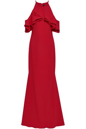 BADGLEY MISCHKA Ruffled chiffon and crepe gown