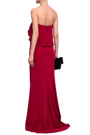 BADGLEY MISCHKA Strapless layered stretch-crepe gown