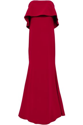 BADGLEY MISCHKA Strapless layered stretch-crepe gown
