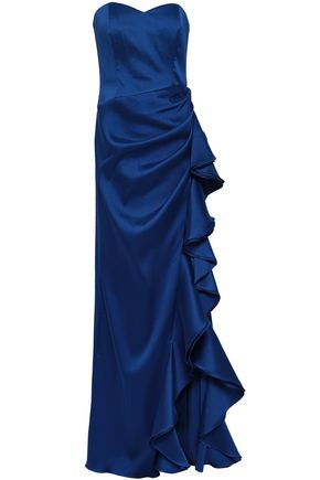 BADGLEY MISCHKA Ruffled duchesse satin-twill gown