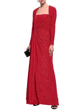 BADGLEY MISCHKA Knotted plissé-satin gown