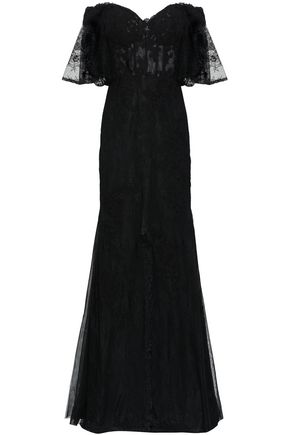 BADGLEY MISCHKA Off-the-shoulder layered lace gown
