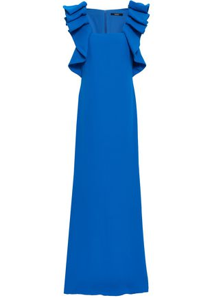 BADGLEY MISCHKA Ruffled crepe gown