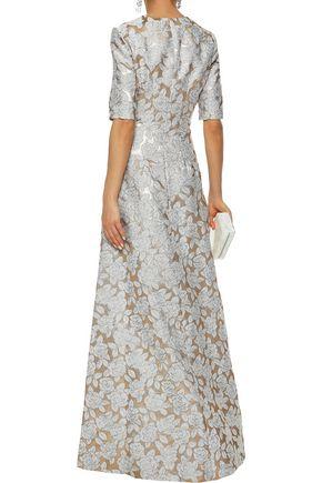 LELA ROSE Holly brocade gown