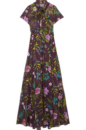LELA ROSE | Lela Rose Pussy-Bow Floral-Print Cotton-Voile Gown | Goxip