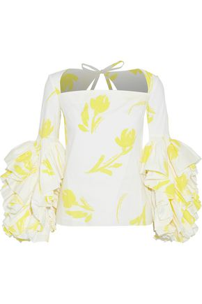 ROSIE ASSOULIN Aye Yai Yai appliquéd ruffled stretch-cotton poplin top