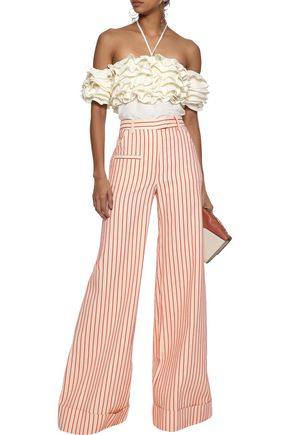 ROSIE ASSOULIN Cha Cha off-the-shoulder ruffled voile halterneck top