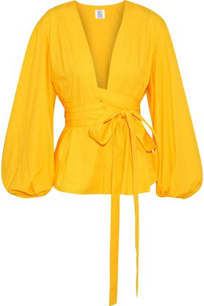 ROSIE ASSOULIN Tie-front pleated cotton-poplin top