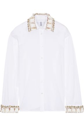 ROSIE ASSOULIN Shell-embellished cotton-voile shirt