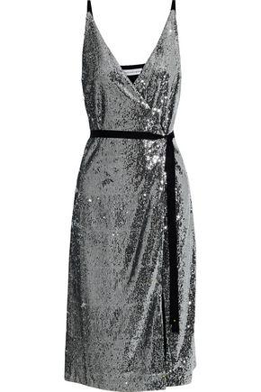ROBERT RODRIGUEZ Wrap-effect sequined chiffon dress