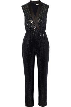 ALICE + OLIVIA Lyle wrap-effect cropped sequined crepe jumpsuit