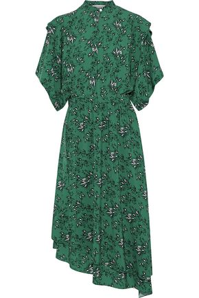 ROBERT RODRIGUEZ Asymmetric layered floral-print washed-crepe midi dress