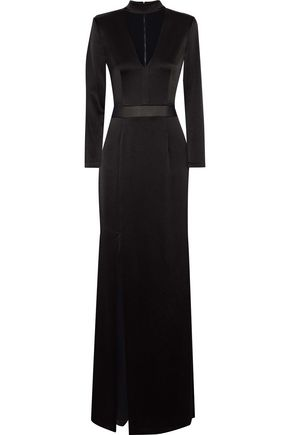 ALICE + OLIVIA Arial chiffon-trimmed cutout satin gown