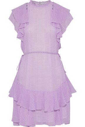 LELA ROSE Button-detailed ruffled gingham silk-chiffon mini dress