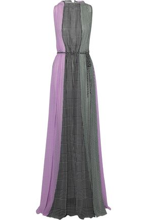 LELA ROSE Color-block gingham silk-chiffon gown