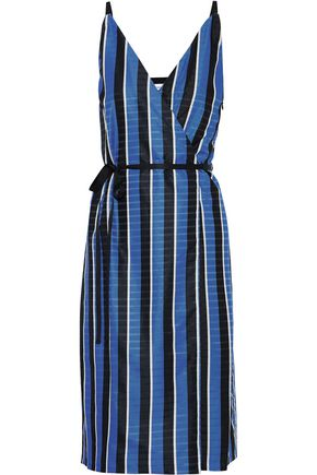 ROBERT RODRIGUEZ Wrap-effect striped satin-jacquard dress