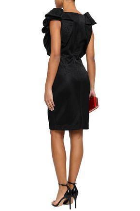 BADGLEY MISCHKA Ruffled stretch-jersey dress