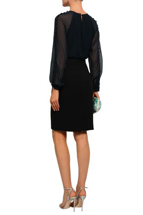 BADGLEY MISCHKA Button-detailed paneled georgette and cady dress
